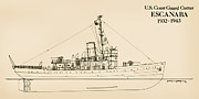 Ww2 Drawings Posters - U.S. Coast Guard Cutter Escanaba Poster by Jerry McElroy