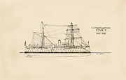 Sailing Ship Drawings Framed Prints - U.S. Coast Guard Cutter Itasca Framed Print by Jerry McElroy