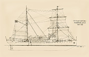 Beach Drawings Prints - U.S. Coast Guard Cutter Northland Print by Jerry McElroy