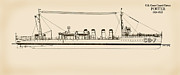 Historic Ship Drawings Prints - U.S. Coast Guard Cutter Porter Print by Jerry McElroy