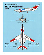 Plane Drawings Prints - U.S. Coast Guard Dassault-Falcon Print by Jerry McElroy