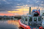 Harbors Metal Prints - US Coast Guard Defender Class Boat Metal Print by JC Findley