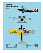 Plane Drawings Prints - U.S. Coast Guard Douglas RD-4 Dolphin Print by Jerry McElroy