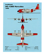 Uscg Drawings - U.S. Coast Guard HC-130 B Hercules by Jerry McElroy