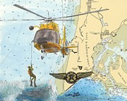 Uscg Posters - US Coast Guard Rescue Swimmer Nautical Chart Art Cathy Peek Poster by Cathy Peek