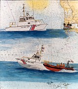 Map Art Painting Posters - US Coast Guard San Diego Nautical Chart Map Art Peek Poster by Cathy Peek