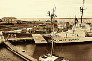 Raw Umber Art - US Coast Guard Ship In Sepia by Kathy Clark