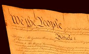 Us Constitution Closest Closeup Brown Background Print by L Brown