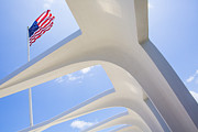 Arizona Framed Prints - U.S.  Flag at the USS Arizona Memorial Framed Print by Diane Diederich