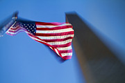 Waving Photos - US Flag at Washington Monument at Night by David Smith