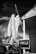 President Obama Prints - Us Flag Flying And Barack Obama 2012 Us Presidential Election Poster Florida Usa Print by Joe Fox