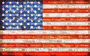 Folk Art American Flag Posters - US Flag with States Poster by Michelle Calkins