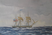 Elaine Jones Metal Prints - US Frigate Gives Chase In Stormy Weather Metal Print by Elaine Jones