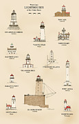 Nautical Chart Prints - U.S Lighthouses of the West Coast Print by J A Tilley
