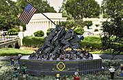 Block Print Art Metal Prints - US Marine Corps War Memorial Metal Print by Ricky Barnard