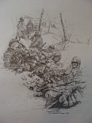 Marines Drawings Prints - US Marines in Korea Print by Fabio Cedeno