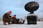 Helping Prints - U.s. Marines Set Up A Satellite System Print by Stocktrek Images