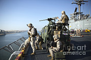 Featured Art - U.s. Marines Stand Armed Watch by Stocktrek Images