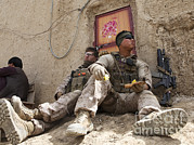 Taking A Break Framed Prints - U.s. Marines Take A Break In The Kajaki Framed Print by Stocktrek Images