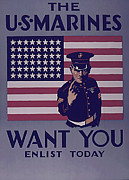 Enlistment Posters - US Marirnes want You Poster by Purcell Pictures