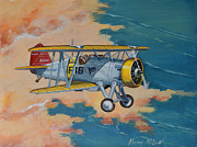 Fighters Paintings - US Navy Boeing F4B by Murray McLeod
