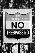 No Trespassing Prints - Us Property No Trespassing Sign Florida Usa Print by Joe Fox