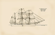 Tall Ship Drawings Prints - U.S. Revenue Cutter Spencer Print by Jerry McElroy