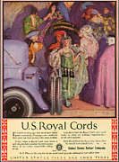 Tires Drawings Posters - Us Royal Cords 1924 1920s Usa Cc Cars Poster by The Advertising Archives