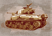 Charcoal Mixed Media - US Sherman tank in world war 2 - Stylised modern drawing art sketch by Kim Wang