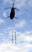 Eglin Framed Prints - U.s. Soldiers Are Suspended By A Ch-47 Framed Print by Stocktrek Images