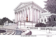Buildings Art Drawings Framed Prints - US Supreme Court Building Framed Print by Frederic Kohli