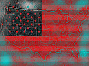 Old Map Mixed Media Prints - Usa 3 Print by Brian Reaves