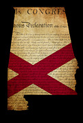 Declaration Of Independence Prints - USA American State Alabama Map outline with grunge effect flag a Print by Matthew Gibson