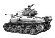 Army Tank Prints - USA army tank in world 2 drawing art poster Print by Kim Wang