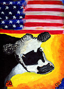 Patriotic Mixed Media Originals - USA Baldie by Cindi Finley Mintie
