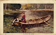 Boy And Girl Prints - USA - CIRCA 1910 Vintage Postcard Plucking The Lotus Print by Valerie Garner
