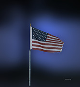 Flag Pole Digital Art - USA Flag 09 by Thomas Woolworth