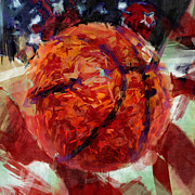 Basketball Abstract Digital Art Posters - USA Flag and Basketball Abstract Poster by David G Paul