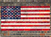 Grime Prints - USA flag on a brick wall Print by Steve Ball