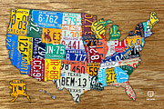 Indiana Mixed Media Prints - USA License Plate Map Car Number Tag Art on Light Brown Stained Board Print by Design Turnpike