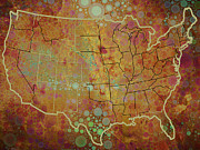 Old Map Mixed Media - USA Map 1 by Brian Reaves