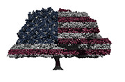 Democracy Mixed Media - USA national flag on isolated tree by Saurabh and Geetanjali Nande