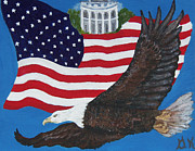 4th July Painting Prints - USA Proud Print by Gloria Koch