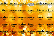 Indiana Mixed Media Metal Prints - USA Skylines 3 Metal Print by Angelina Vick