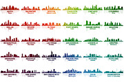 Oregon Illinois Framed Prints - USA Skylines Framed Print by Angelina Vick