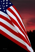 50 Stars Posters - USA Waving Flag at Sunset Poster by Thomas Woolworth