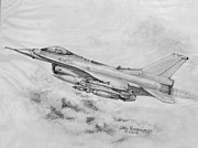 Fighter Jet Drawings - USAF F-16 Fighting Falcon by Jim Hubbard