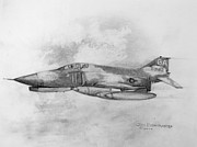 Fighter Jet Drawings - USAF F-4 Phantom by Jim Hubbard