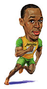 Caricature Paintings - Usain Bolt by Art