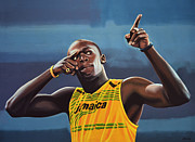 Basket Ball Painting Framed Prints - Usain Bolt  Framed Print by Paul  Meijering